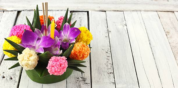 loy krathong festive - kratong stock photos and pictures