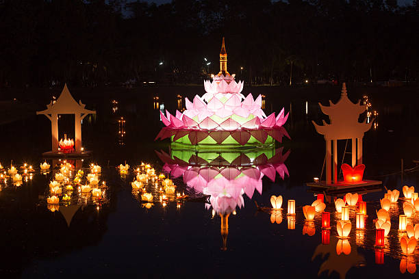 loy kratong festival at sukhothai historical park - kratong stock photos and pictures