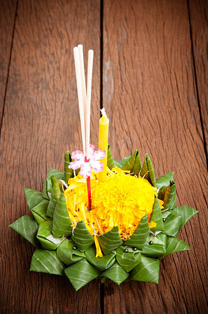 loy kratong festival celebrated in thailand - kratong stock photos and pictures