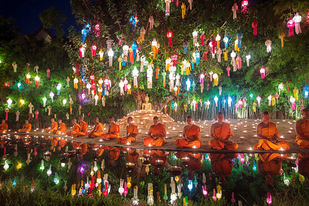chiang mai, thailand - november 6, 2014: loy kratong festival - kratong stock photos and pictures