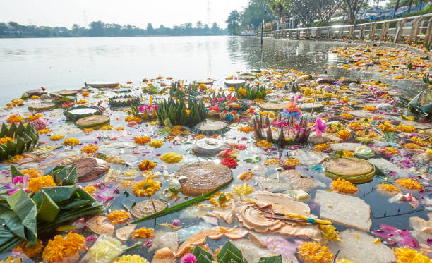 loy kratong pollution - kratong stock photos and pictures