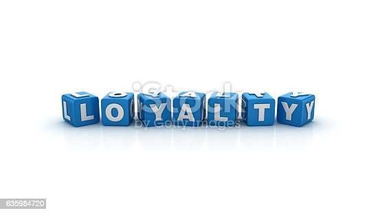 istock Loyalty Buzzword Cubes - 3D Rendering 635984720