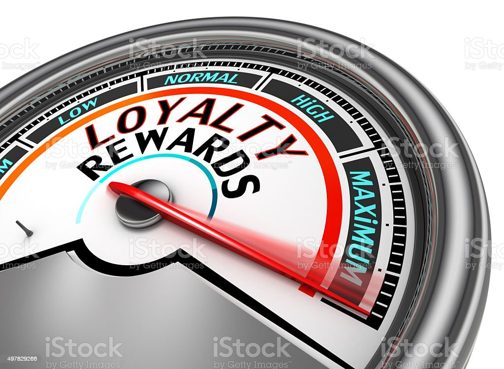 Loyalty rewards conceptual meter indicate maximum stock photo