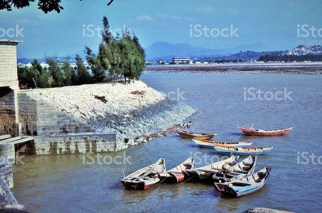 Loyang Bridge with Canoes stock photo