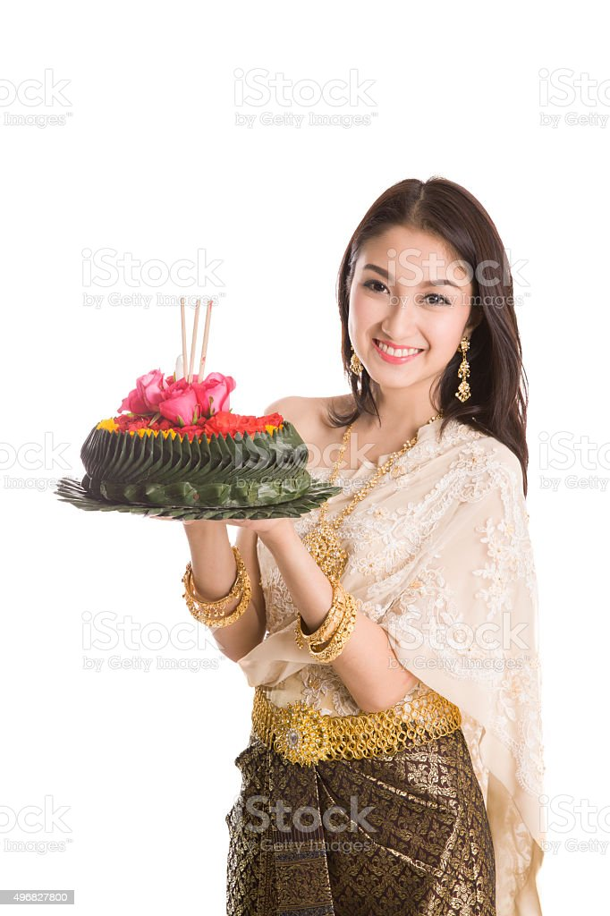 Loykratong tradition, Thai woman hold kratong stock photo
