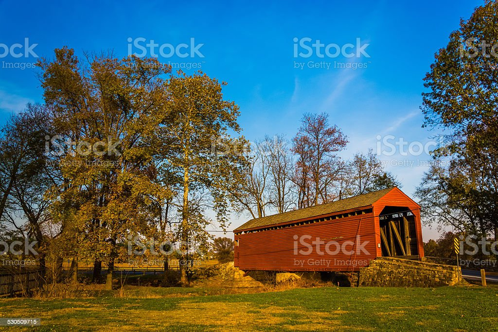 Loy's Station Covered Bridge, in rural Frederick County, Marylan stock photo