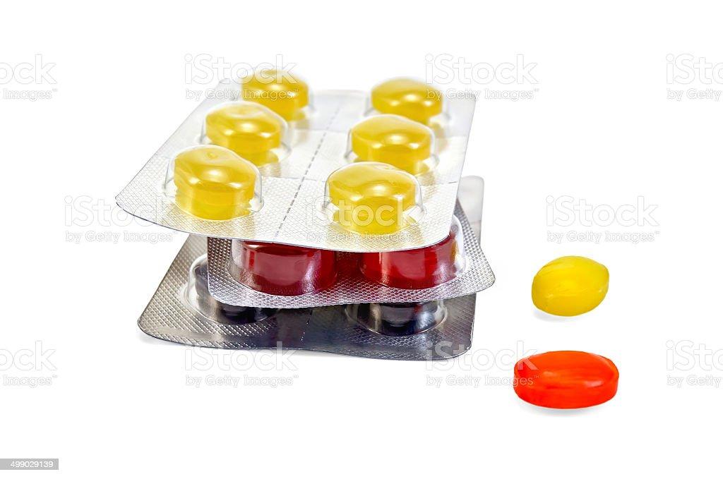Lozenges cough multicolored pile stock photo