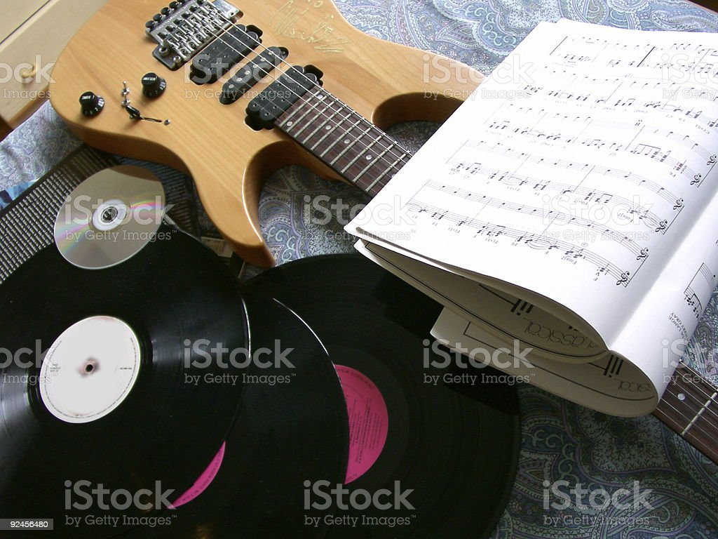 '33', '45', Lp, Cd, music and guitar stock photo