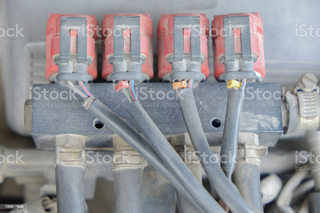 lpg car injectors in old car engine stock photo