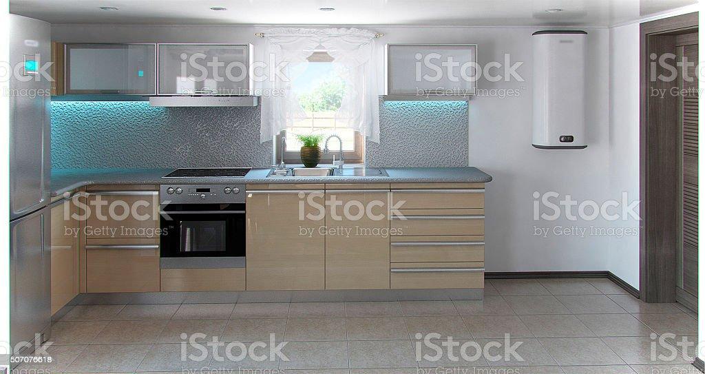 L-förmiger Minimalismus-Küche interior 3D Render – Foto