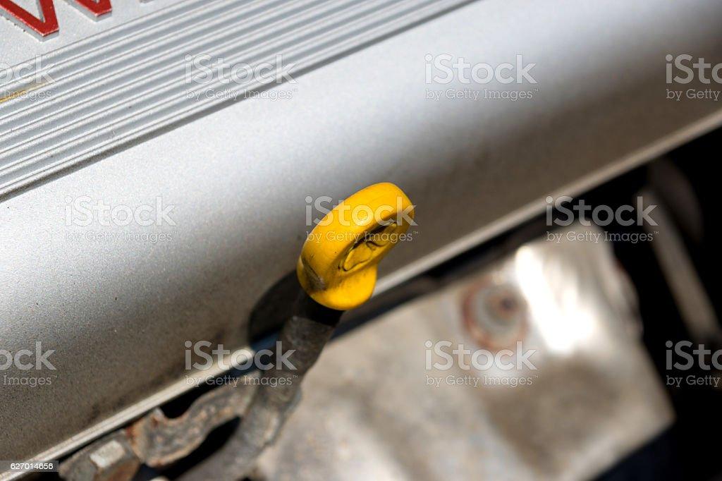 Ölstab im Motorraum stock photo