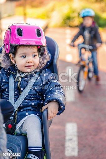 istock Lttle girl with helmet on head sitting in bike seat 973109330
