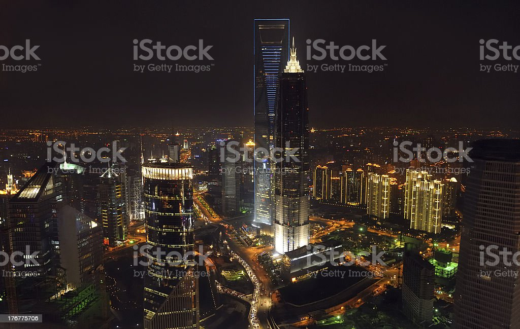 Lu Jiazui Economic zone in Pudong, Shanghai royalty-free stock photo