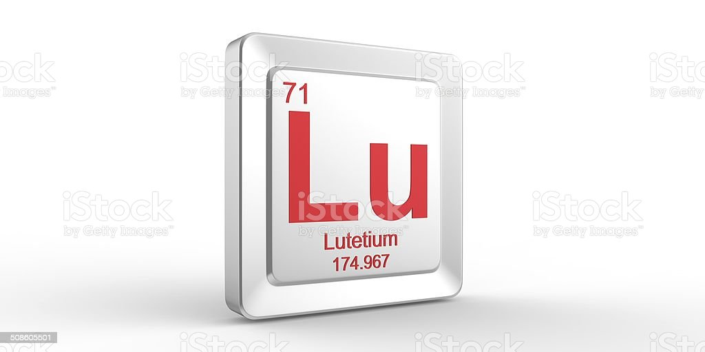 Lu symbol 71 material for Lutetium chemical element stock photo