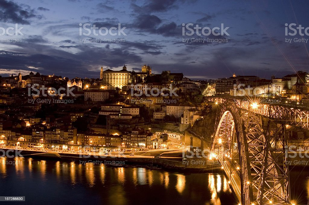 D. Luís bridge by night. royalty-free stock photo