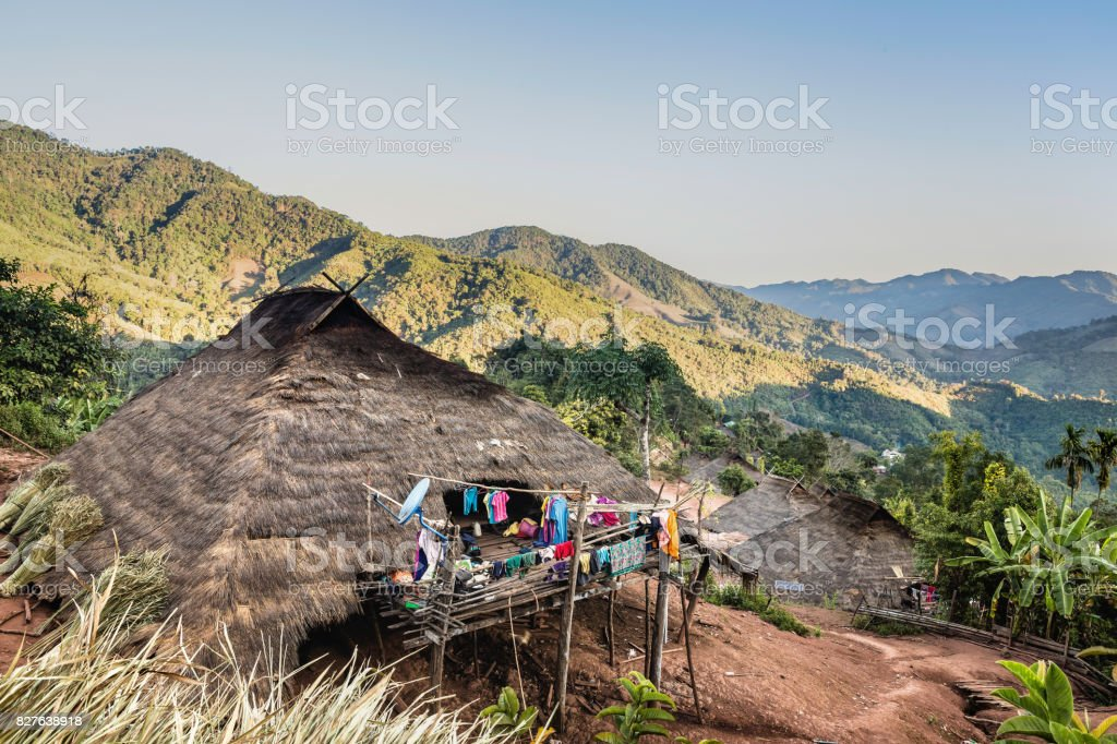 Lua PraGum hill tribe village Maintaining the architectural style and material used strictly stock photo
