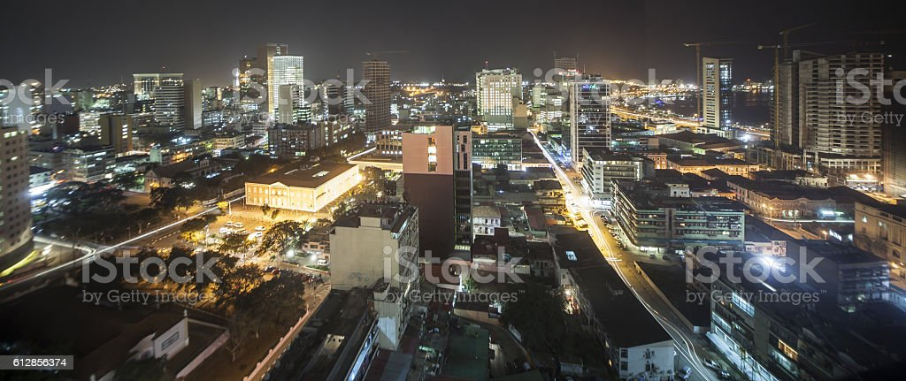 Luanda, Angola at Night stock photo