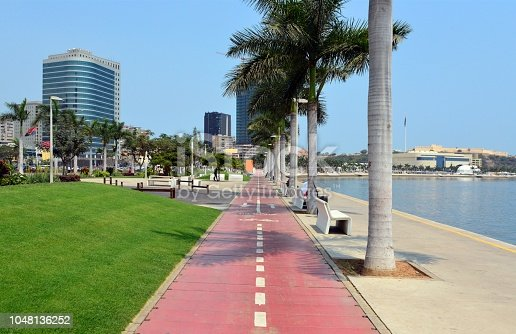 Luanda, Angola: bicycle Lane - bike path on the waterfront avenueAvenida Marginal, 4 de Fevereiro - Atlântico Towers, Sofitel Hotel, Fortress, Centro Fortaleza - Ingombota