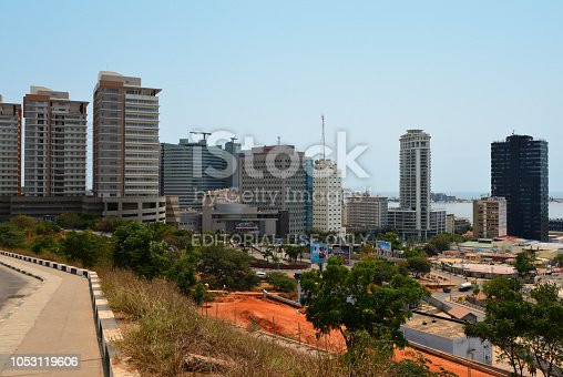 Luanda, Angola: business district skyline - towers around Praça do Ambiente - Sandard Chartered bank, Vista Towers, Total, Torre Ambiente, Edificio Baia... - Luanda Island in the Background
