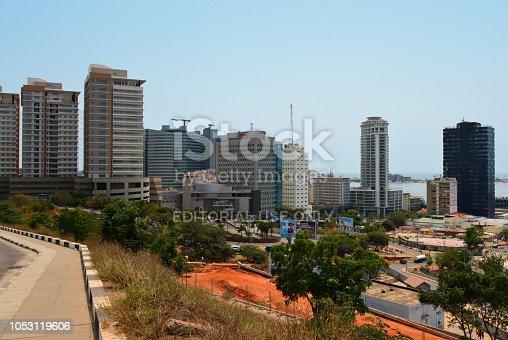 Luanda, Angola: business district skyline - towers around Praça do Ambiente - Sandard Chartered bank, Vista Towers, Total, Torre Ambiente, Edificio Baia... - Luanda Island in the Background