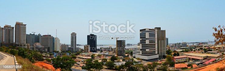 Luanda, Angola: business district skyline - towers around Praça do Ambiente and Bairro do Bungo - Sandard Chartered, Vista Towers, Total, Torre Ambiente, Edificio Baia, Sapiens Institute, INSS, Kings Towers, Presidente Hotel, Diamante Hotel, Fire Station, Angola Telecom... - port and Luanda Island in the Background