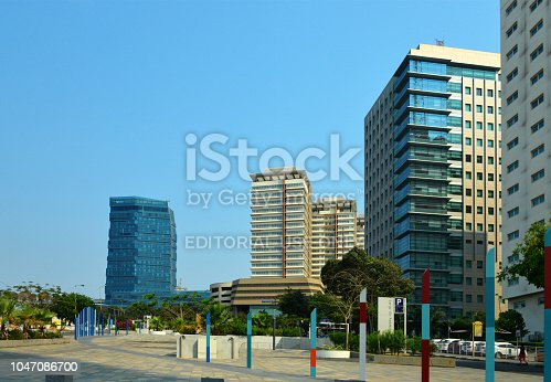 Luanda, Angola: business district - view of Ambiente Square, looking south - high rise buildings - Intercontinental Hotel, Standard Charted Angola Bank, Total S.A., etc