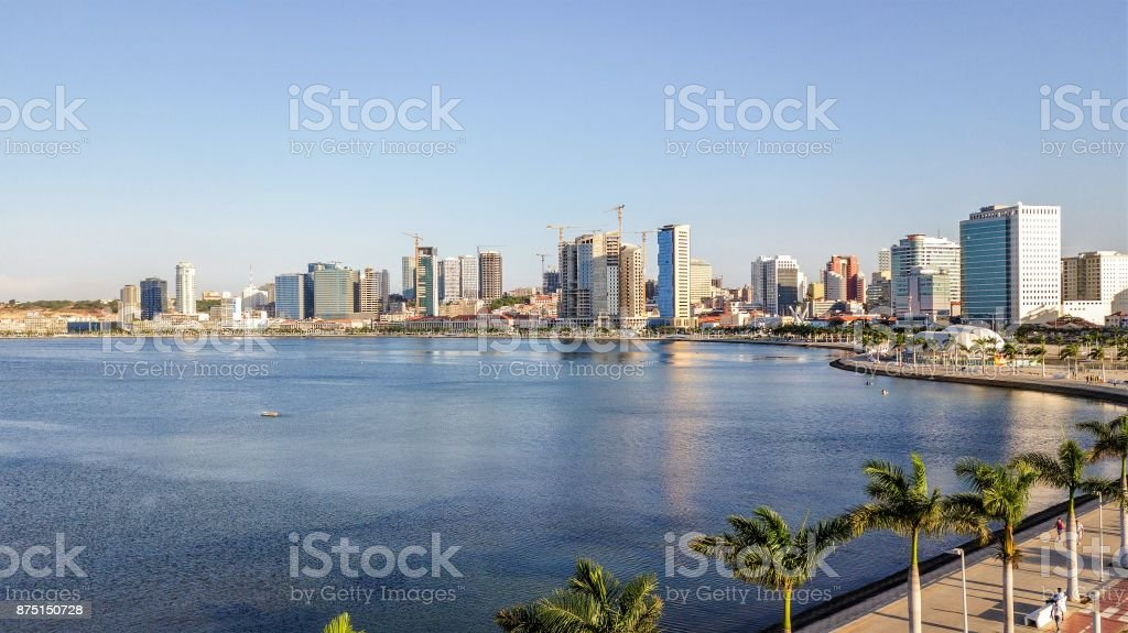 Luanda City Seaside from Sky stock photo