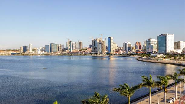 luanda city seaside from sky - angola stock photos and pictures