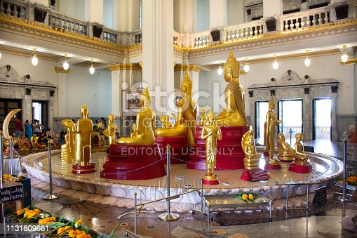 Thai people respect praying and visit for blessing from Luang Phor Sothorn Buddha statue at Wat Sothon Wararam Worawihan on July 4, 2018 in Chachoengsao, Thailand.