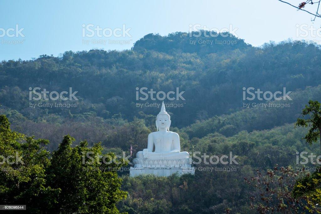 Luang Por Khao or white big Buddha on Si Siat Mountain,Wat Theppitak Punnaram,Phaya Yen,Pakchong district,Nakhon Ratchasima,northeastern Thailand.The statue was named Buddha Sakkol Sima Mongkol. stock photo
