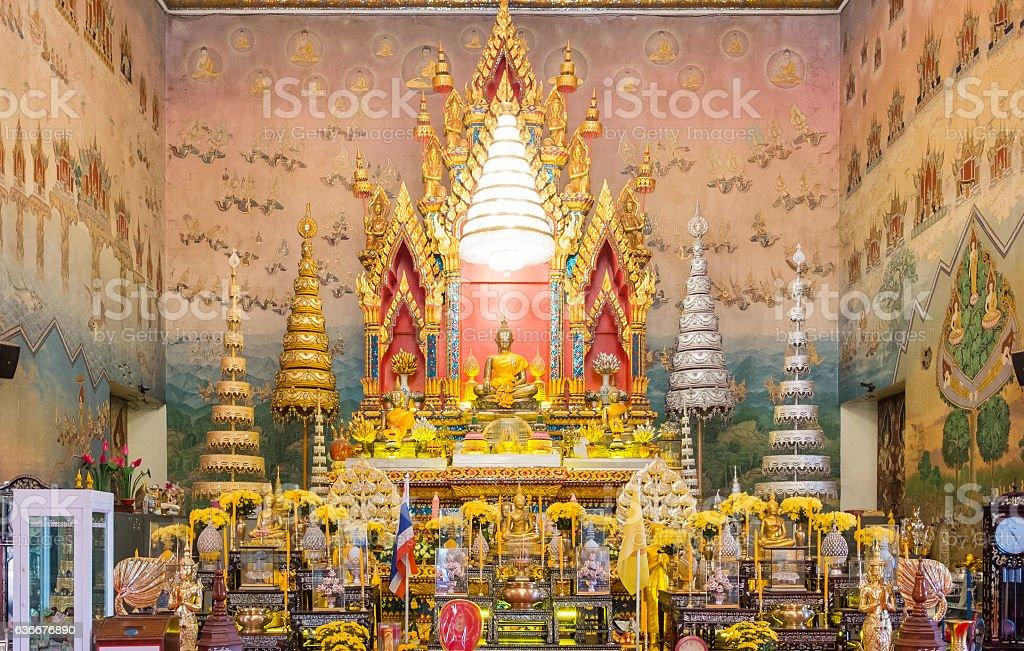 luang por phra sai buddha state at wat pho chai stock photo