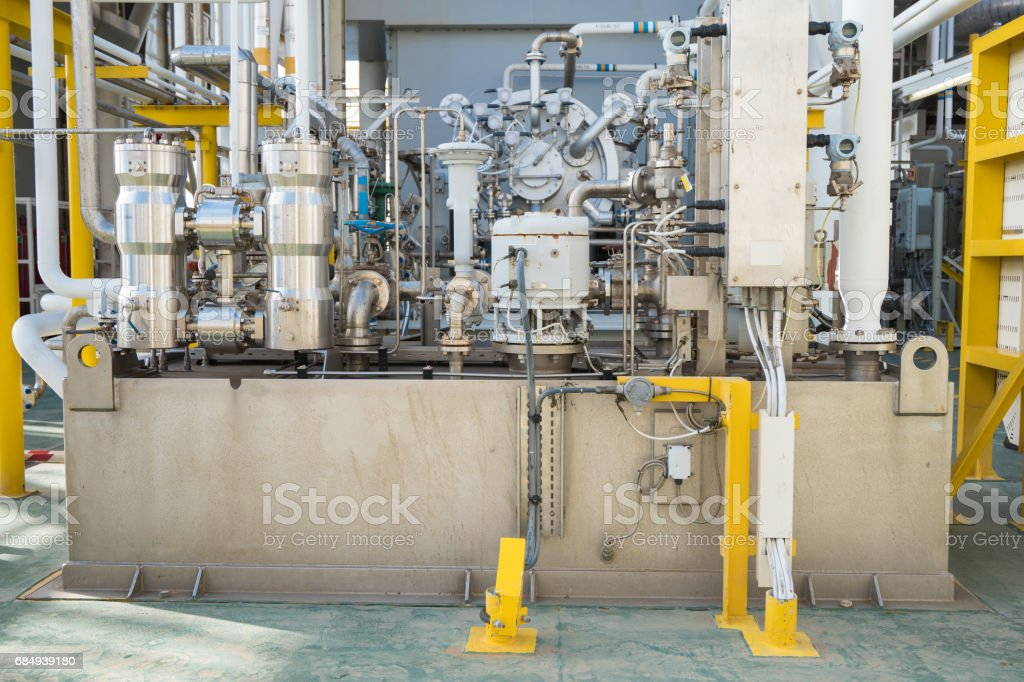 Lube oil system skid of gas compressor and gas engine turbine at offshore oil and gas platform stock photo