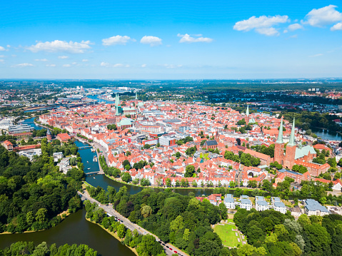 Lubeck old town aerial view