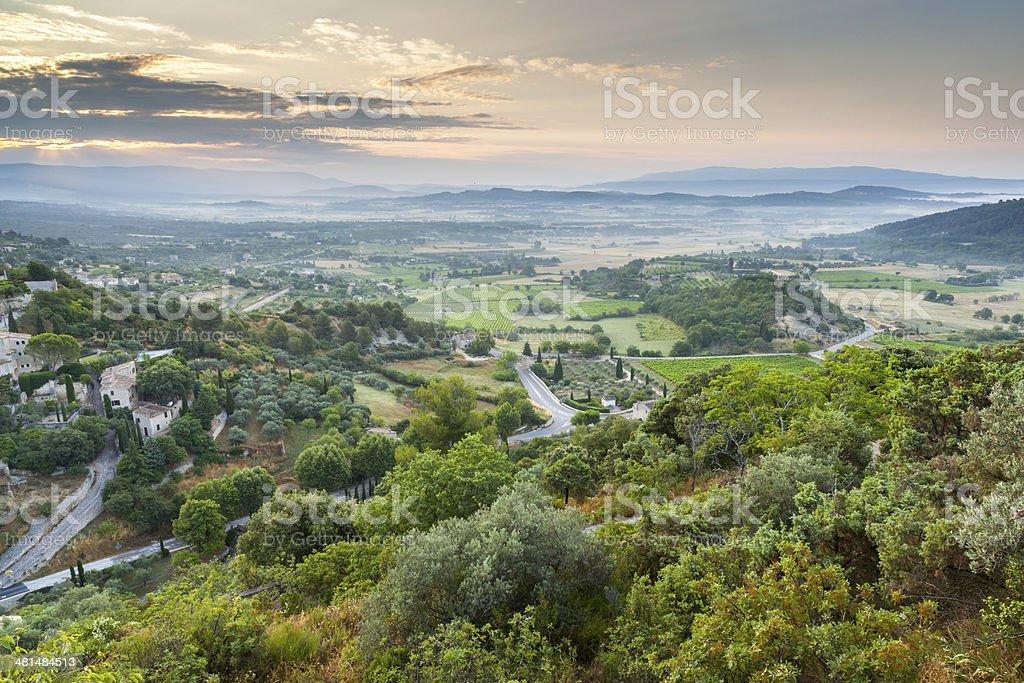 Luberon plateau under Gordes village, Vaucluse, Provence, France stock photo