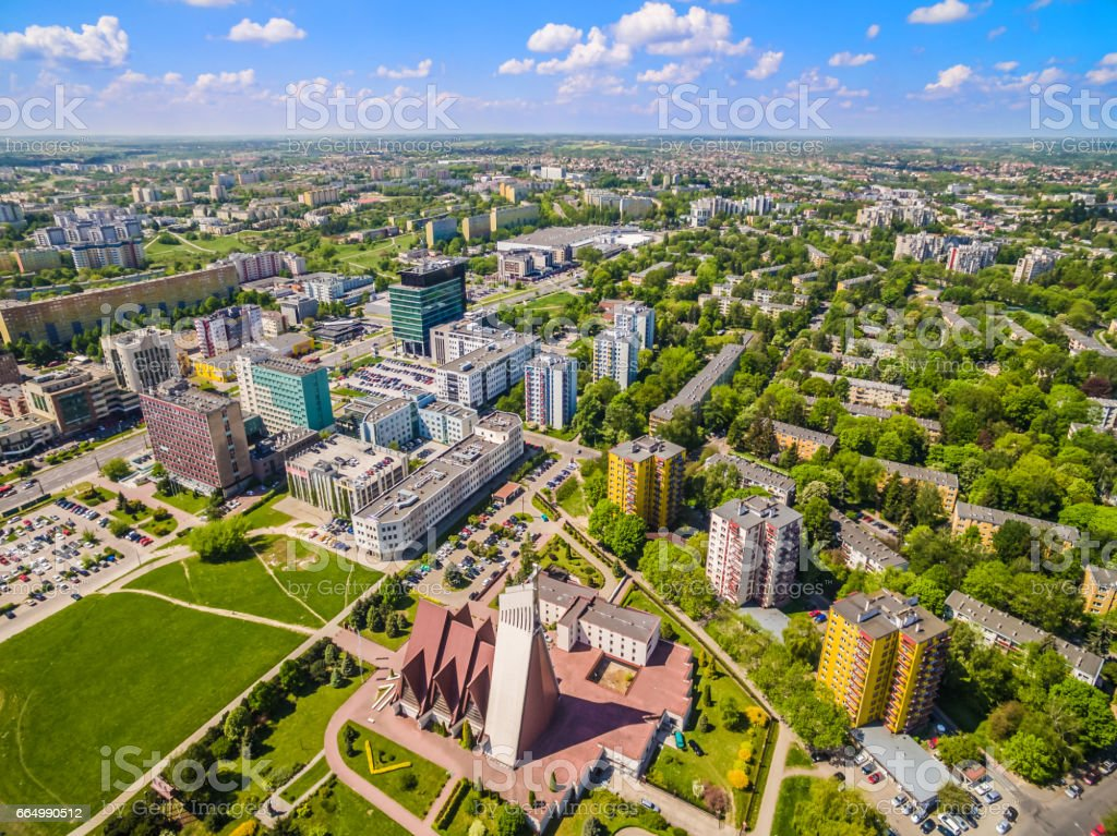 Lublin from the air. Buildings Lublin streets Zana and Filaret. stock photo