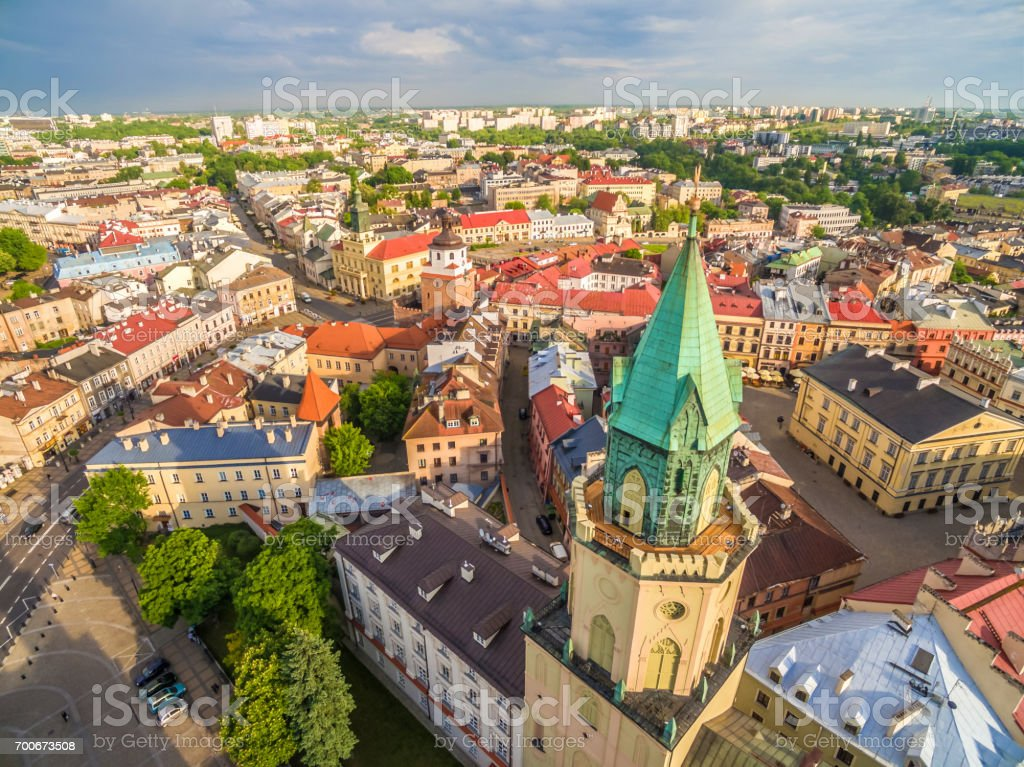 Lublin from the bird's eye view. Old Town, Trinitarian Tower, Crown Tribunal and other monuments of Lublin. stock photo