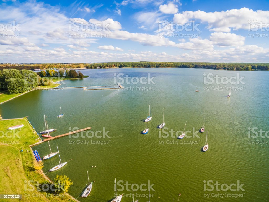 Lublin - Zemborzycki lagoon. Landscape from the bird's eye view. stock photo