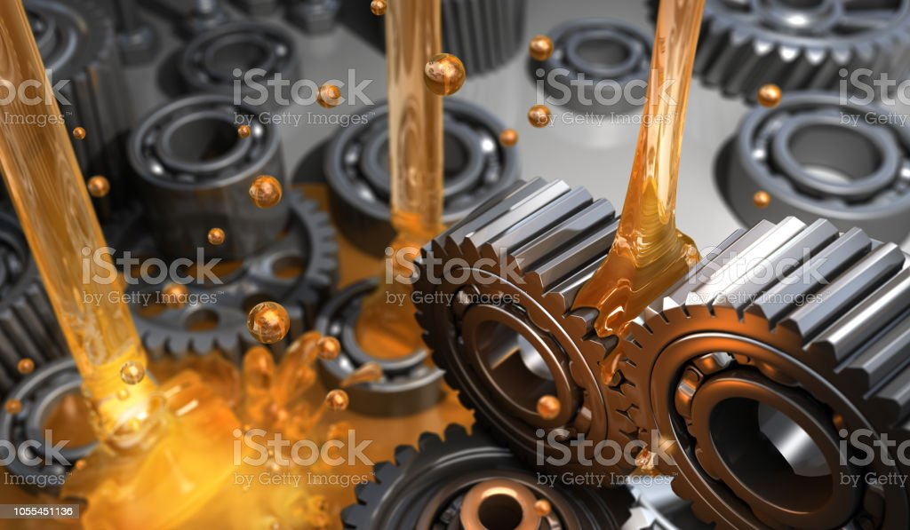 Lubricant and Gears Lubricant and Gears - 3D Rendering Engine Stock Photo