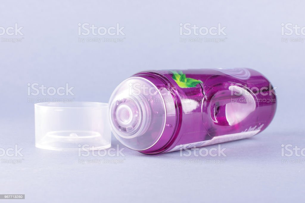 Lubricant gel Lubricant gel isolated on the gray background Bottle Stock Photo