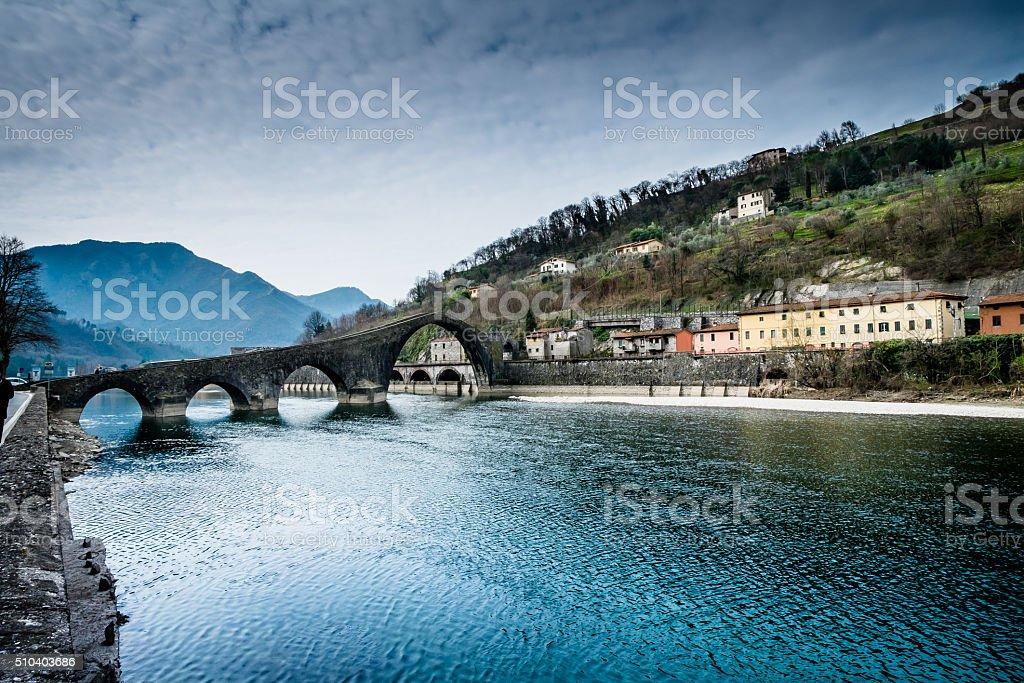 Lucca Borgo a Mozzano Ponte della Maddalena stock photo