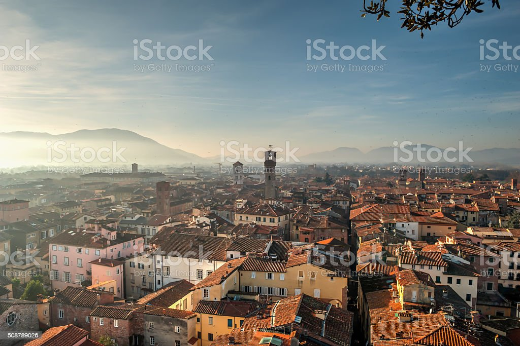 Lucca from above, Tuscany, Italy stock photo