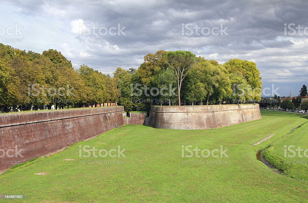 Lucca medieval city walls royalty-free stock photo