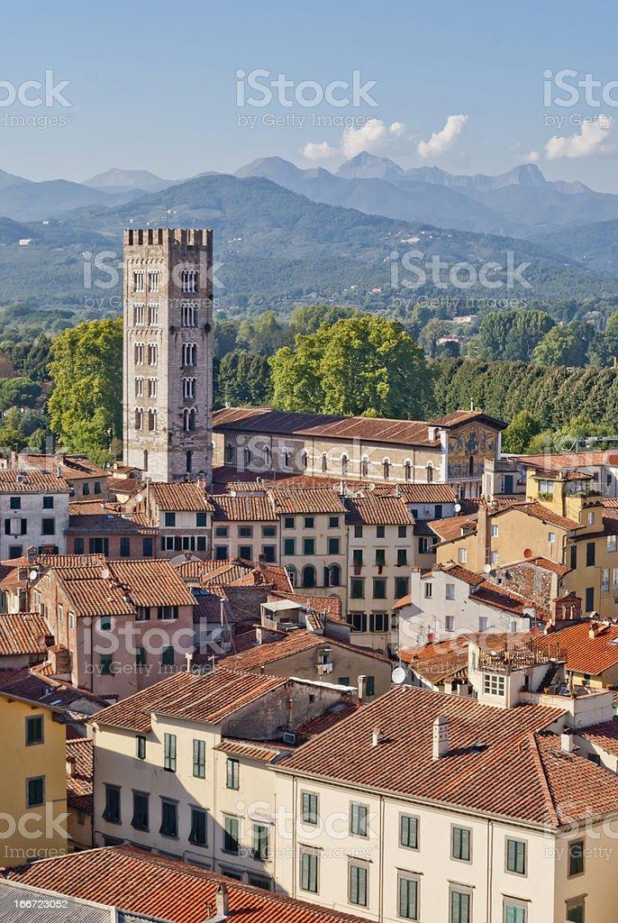 Lucca panoramic view, Tuscany, Italy stock photo