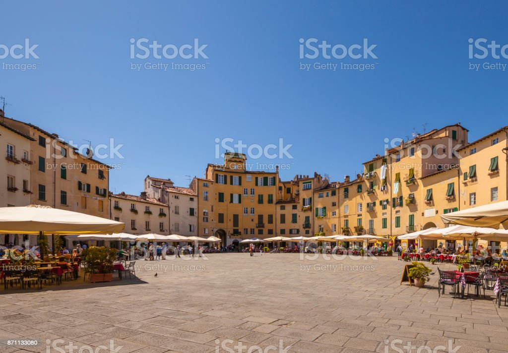 Lucca, piazza anfiteatro stock photo