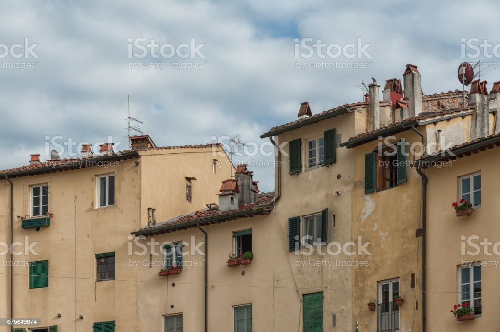Lucca (Tuscany - Italy), the famous medieval square known as Piazza Anfiteatro royalty-free stock photo