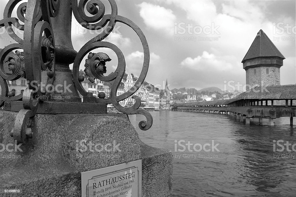 Lucern Black and White royalty-free stock photo