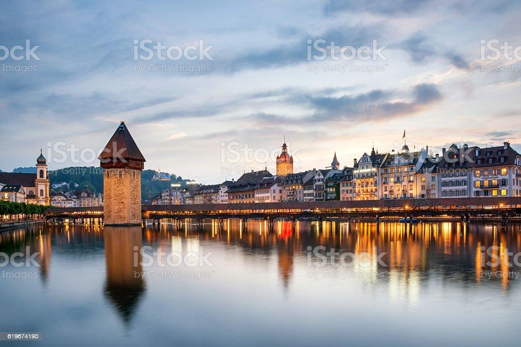 Lucerne. Image of Lucerne, Switzerland during twilight blue hour stock photo