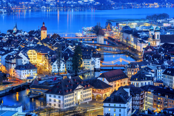 lucerne old town illuminated on christmas, switzerland - lucerne stock pictures, royalty-free photos & images