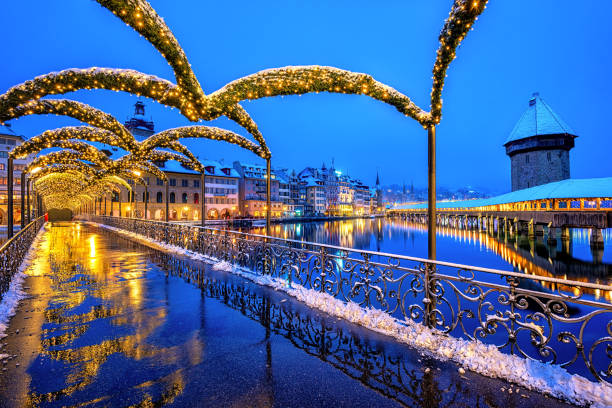 lucerne old town, switzerland, in christmas illumination - lucerne stock pictures, royalty-free photos & images