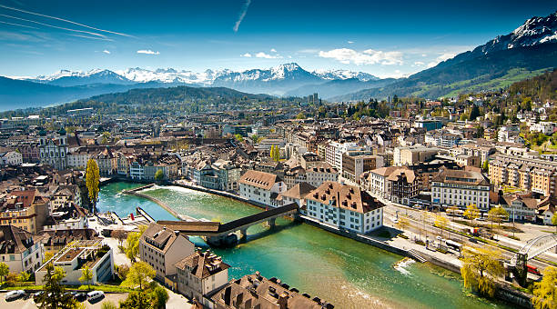 lucerne panorama - lucerne stock pictures, royalty-free photos & images